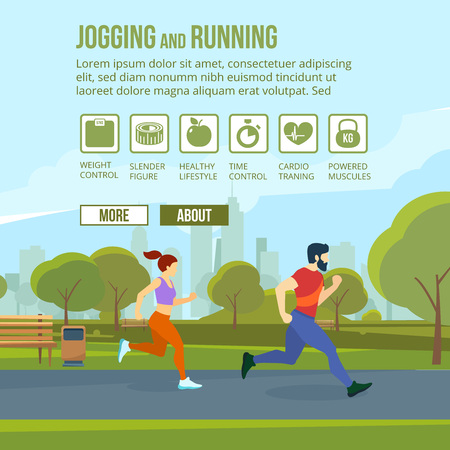 health and fitness: Infographic set with runners and training elements. Vector fitness man and woman
