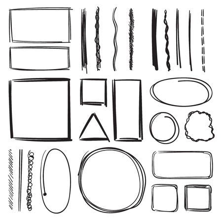 Highlighter, circles and underlines. Vector illustration set of pencil marks. Hand drawn pictures
