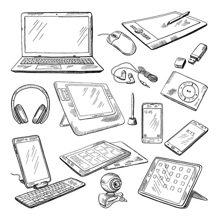 Different computer gadgets. Doodle vector illustrations isolate on white