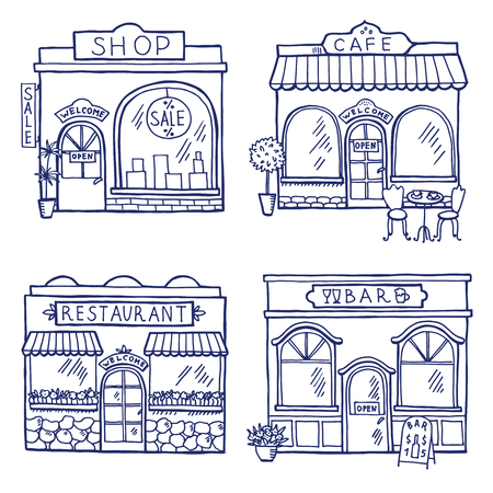 Hand drawn illustration of different buildings and market places. Restaurant, cafe, bar and shop