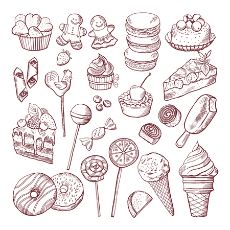 Vector doodle pictures of different desserts sweets and cakes Illustration