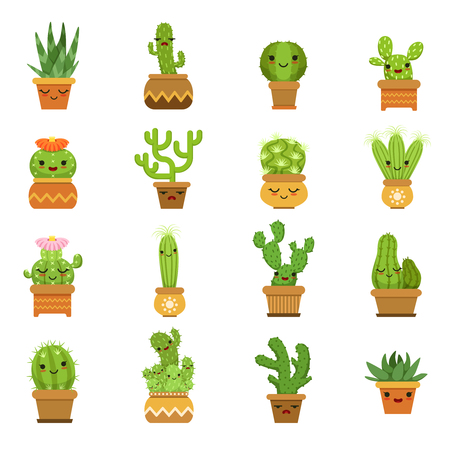 Cute desert plants. Cactus in pots, vector cartoon mascot with different emotions Иллюстрация