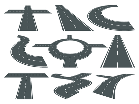 Vector Set Of Pathway Different Roads Speed Curved Symbol For