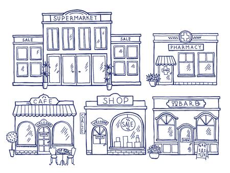 Gebouwen gevel vooraanzicht. Winkel, café, winkelcentrum en apotheek. Doodle illustraties instellen