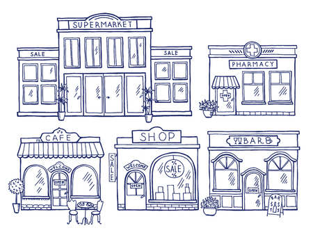 Buildings facade front view. Shop, cafe, mall and pharmacy. Doodle illustrations set Illustration