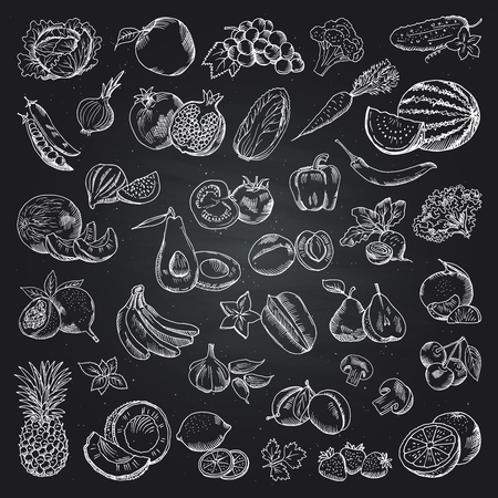 Fruits and vegetables illustrations. Health food doodle pictures on the black background. Vector set