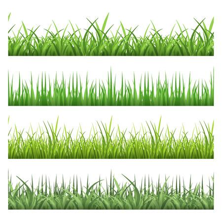 緑の野原の草。水平ベクトル シームレス パターン セット