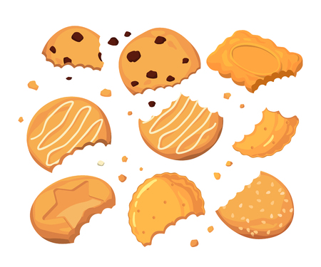 Traces from stings on the cookies and different small crumbs. Cartoon vector illustration set Vectores