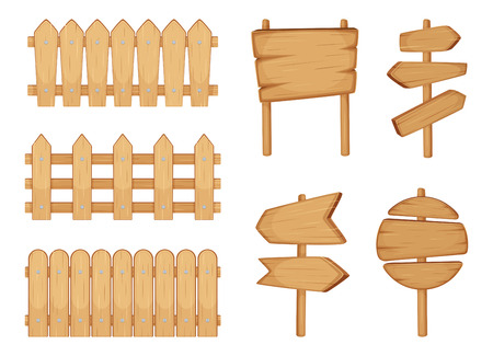 Fences of garden and signs with wood texture. Vector illustration set isolate on white Illustration