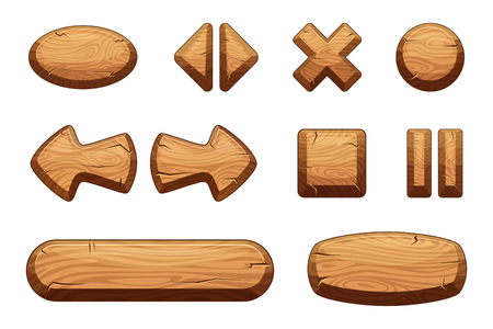 Wooden buttons set for game ui. Vector cartoon illustrations. Stock Illustratie