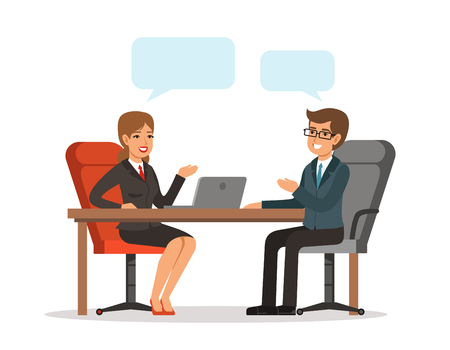 Business conversation. Man and woman at the table. Vector concept picture in cartoon style Çizim