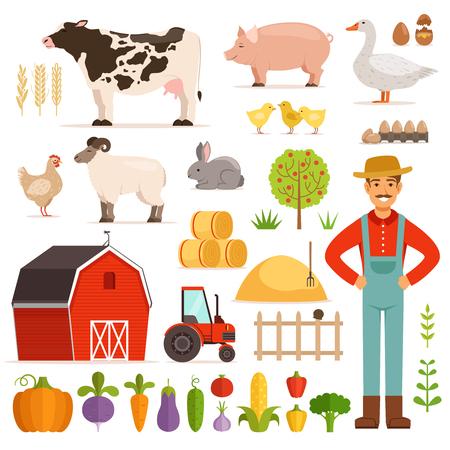 Different farm elements. Vegetables, transport and domestic animals. Vector illustrations set Stock Illustratie