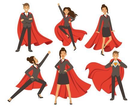 Empresaria en poses de acción. Mujer superhéroe volando. Ilustraciones vectoriales en estilo de dibujos animados
