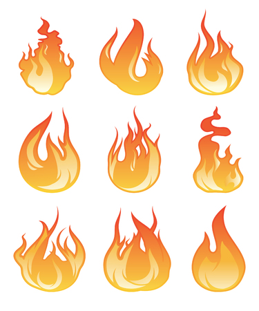 flaming: Cartoon flame set. Vector illustration of fire flaming