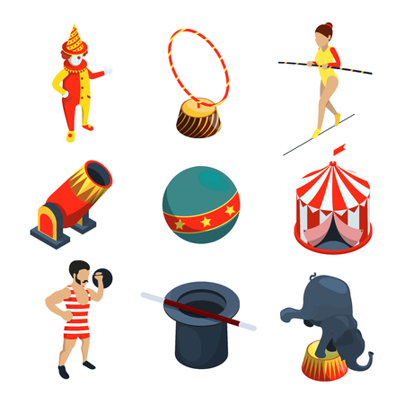 Circus icon set. People, animals, magician show clowns and other vector illustration in cartoon style