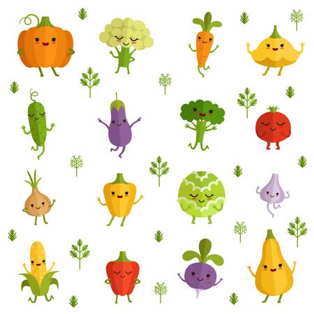 Groentenkarakters met grappige emoties. Vectorillustratie in komische stijl Stockfoto - 80499079