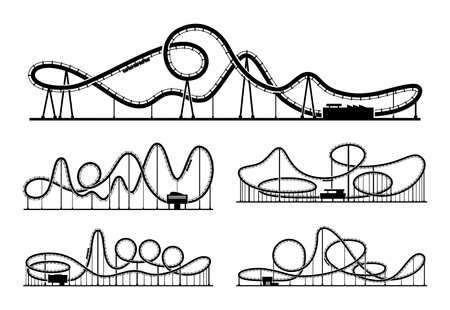 Rollercoaster vector silhouettes isolate on white background. Amusement park illustration Vettoriali