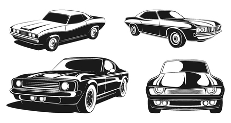 Monochrome illustration set of retro muscle cars. Black vector