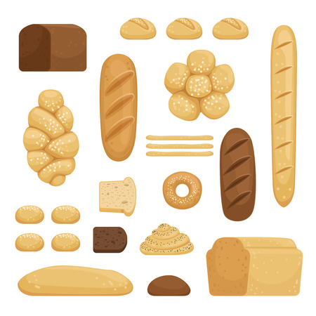 Bakery products. Vector illustration of different breads in cartoon style Illustration