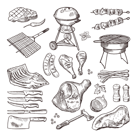 cookout: Barbeque vector hand drawn illustration set. Grilled meat and other accessories for barbecue party
