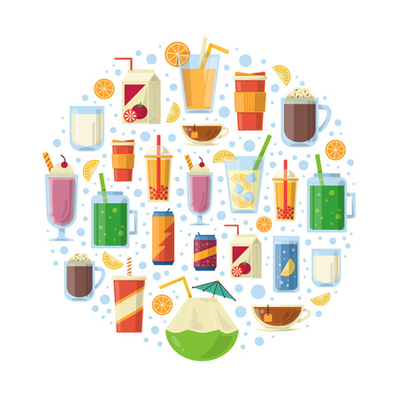 A set of non-alcoholic drinks in a circle shape. Vector illustration Illustration