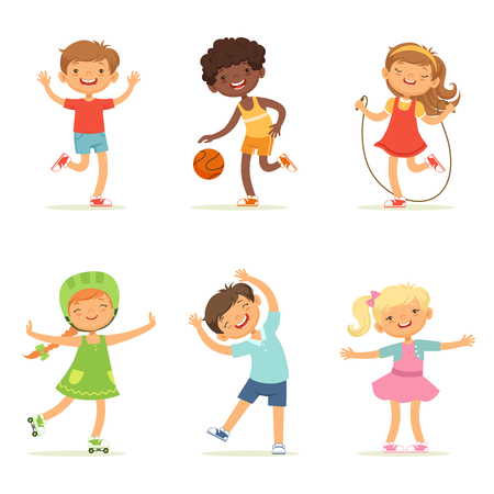 Kids playing in active games. Vector illustrations of funny children at playground Imagens - 80717634