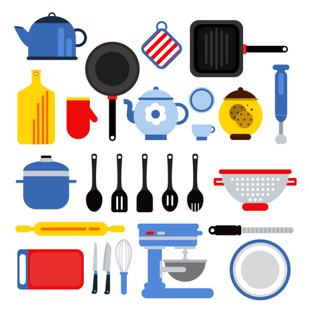 Different kitchen tools set isolated on white. Vector illustrations in modern flat style Stock Photo