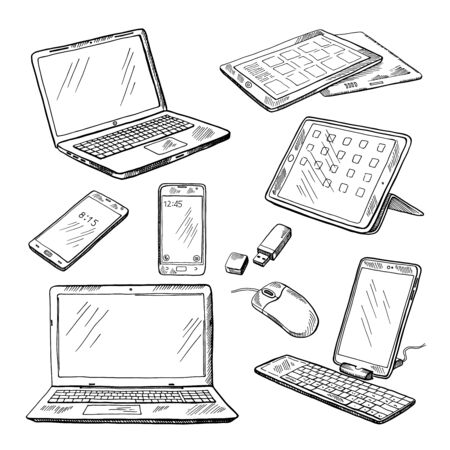 hand touch: Doodle illustrations of different devices laptop, smartphone, tablet, pc and other. Vector pictures set
