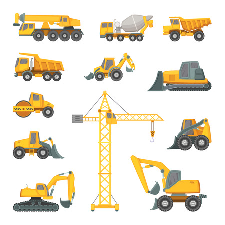 heavy construction: Heavy construction machines. Excavator, bulldozer and other technique. Vector illustrations in cartoon style Illustration