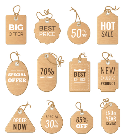 price drop: Discounts tags. Drop price and big sales. Vector pictures of labels set isolate Illustration