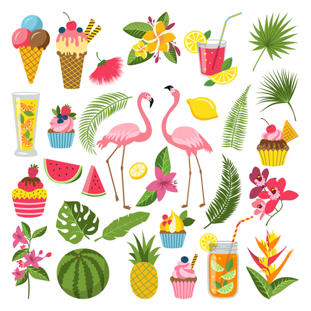 Summer time labels set for tropical party. Different icons in flat style. Drinks, watermelon, lemonade and flamingo Vectores