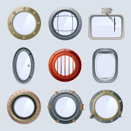 rounded circular: Different round ship and plane portholes. Vector illustration isolate on white Illustration