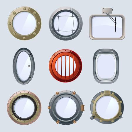 Different round ship and plane portholes. Vector illustration isolate on white Illustration