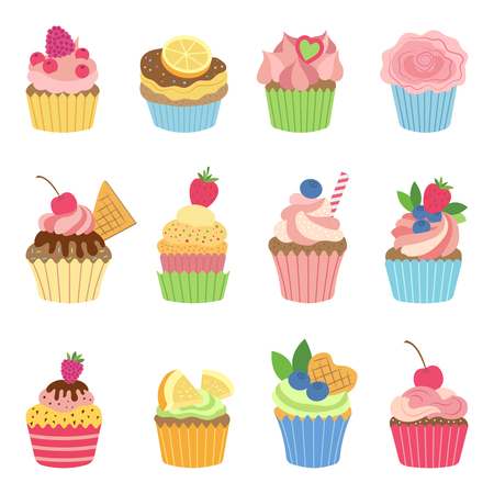 Vanilla muffins and cupcakes with chocolate. Vector illustration in flat style