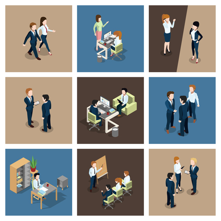 Different business situations in office. Businessman working with his team. Secretary at the table. Vector isometric illustrations set Illustration