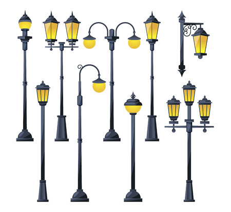 Vector illustration of old city lamps in cartoon style Çizim