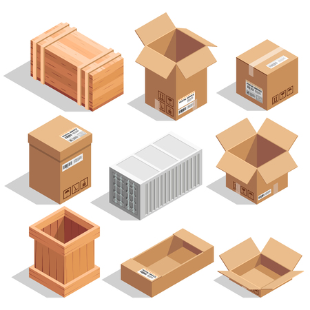 Different big delivery packages. Warehouse or shipping closed and opening boxes. Isometric vector illustrations Stock Illustratie