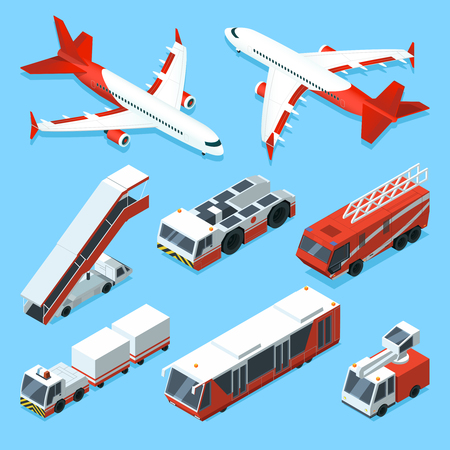 Airplanes set and other support machines in airport. Vector isometric illustrations of transport Ilustração