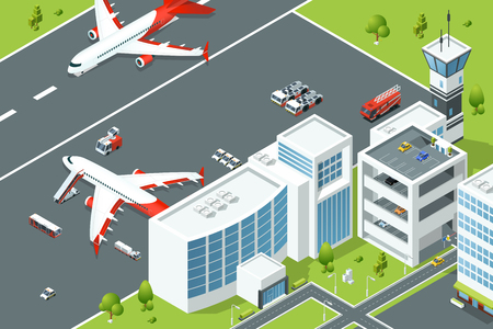 Airport, controls buildings of aircraft. Plane ramp and different support machines on runway. Isometric vector illustrations