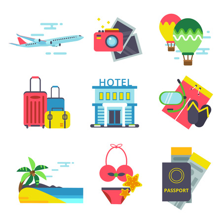 Travel time icon set in flat style. Vector signs of summer holidays. Sea, waves and other symbols of traveling Illustration