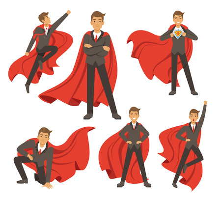 Powerful businessman in different action superhero poses Vector illustrations in cartoon style