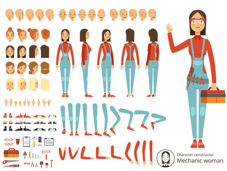 Big creation kit of girl mechanic in working clothes. Vector constructor with body parts Illustration