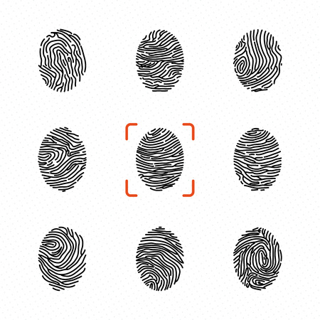 Set of individual fingerprints for personal identification Vector illustrations