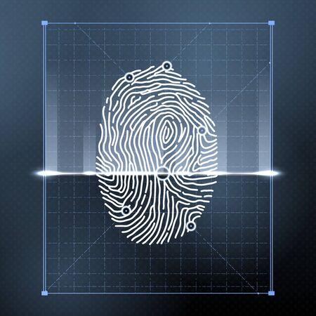 Fingerprint biometric scan for personal verification Illustration
