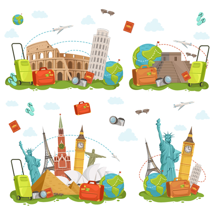 Travel icons and different landmarks. Famous world places isolate on white. Vector illustrations set
