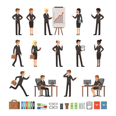 Charaktere Design von Geschäftsleuten Mann und Frau, Büroangestellte oder Direktoren, professionelle Teams. Maskottchen in verschiedenen Action-Posen Standard-Bild - 81731023