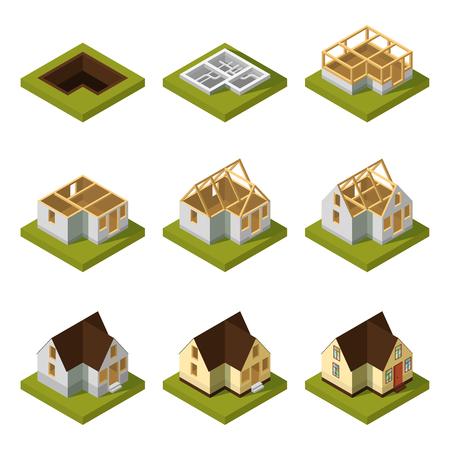 Visualisation d'un bâtiment moderne sur différentes étapes de construction. Illustration vectorielle de construction isométrique bâtiment urbain maison