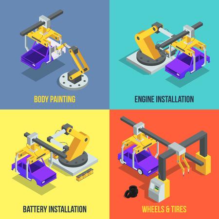 車生産の段階。自動機ライン。産業等尺性ベクトル イラスト。機械生産技術、自動車組立ライン