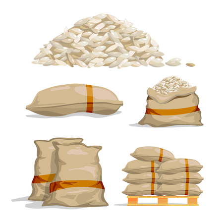 Different sacks of white rice. Food storage vector illustration. Grain rice in bag, sack with rice Illustration