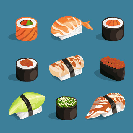 nori: Set of classical asian food. White rice, sushi, salmon nori and different rolls. Vector pictures in cartoon style asian food roll sashimi, unagi and nori japanese illustration